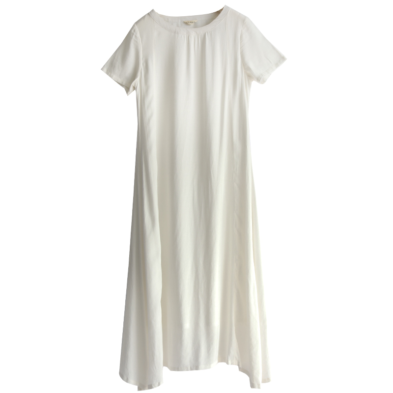 LZJN Cotton Linen Dress Women Casual Loose Summer Beach White Dresses Ladies Short Sleeve Maxi Long Vestido Robe Femme Plus Size (17)
