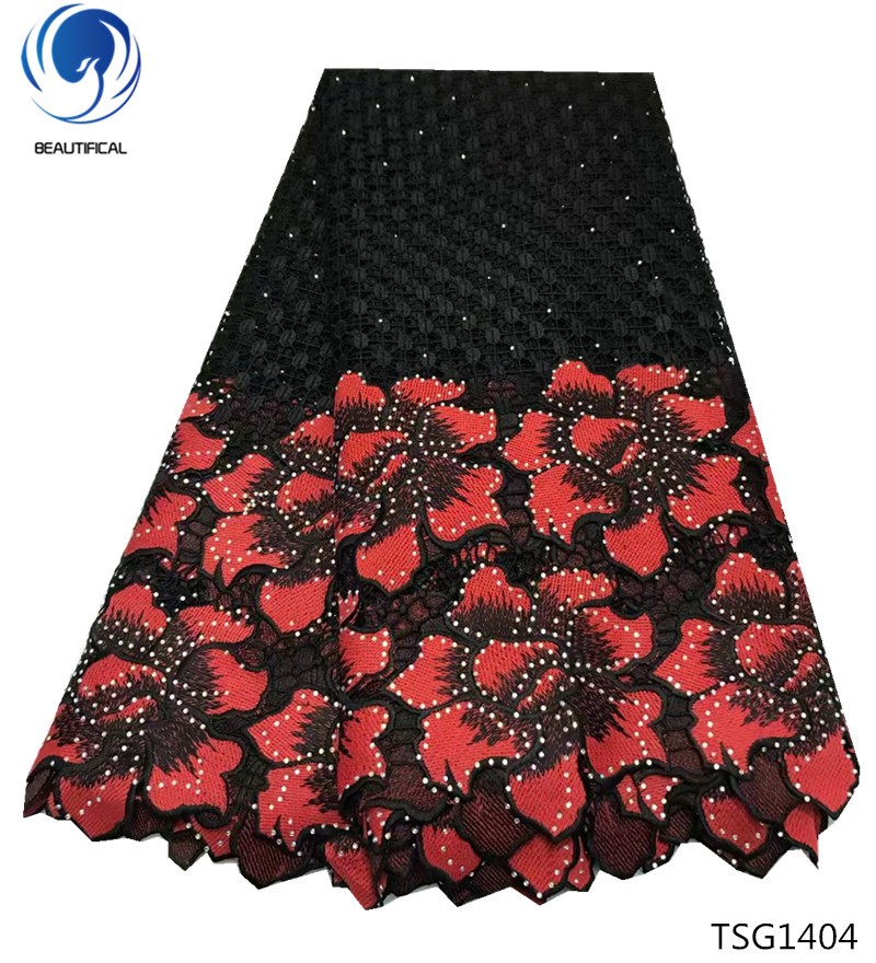 Beautifical cupion lace 2018 fashion guipure cord lace fabrics with stones Afrrican water soluble for women