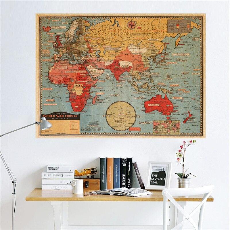 Papel Retro Vintage Mapa Del Mundo Poster Etiqueta de La Pared Sala de estar Ofi