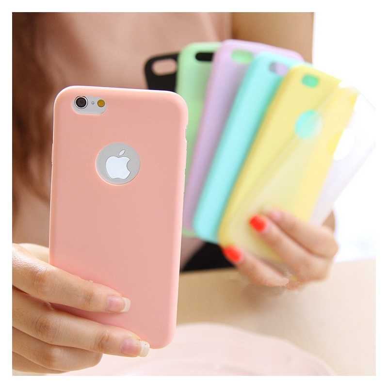 Solid Candy Color Matte Frosted Capa Skin Case for iPhone 6 6S 7 6Plus Plus TPU Silicone Soft Back Cover for