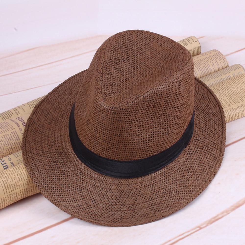 Straw Hats for Men Fashion Summer Plaid Sun Caps Beach Solid Color Hat West Cowboy Cap White Brown Khaki