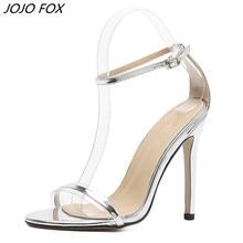 Nyári PVC Női szandál Super High Heels Vízálló Női Átlátszó Kristály Esküvői cipő Ezüst Szandál női nyári cipő