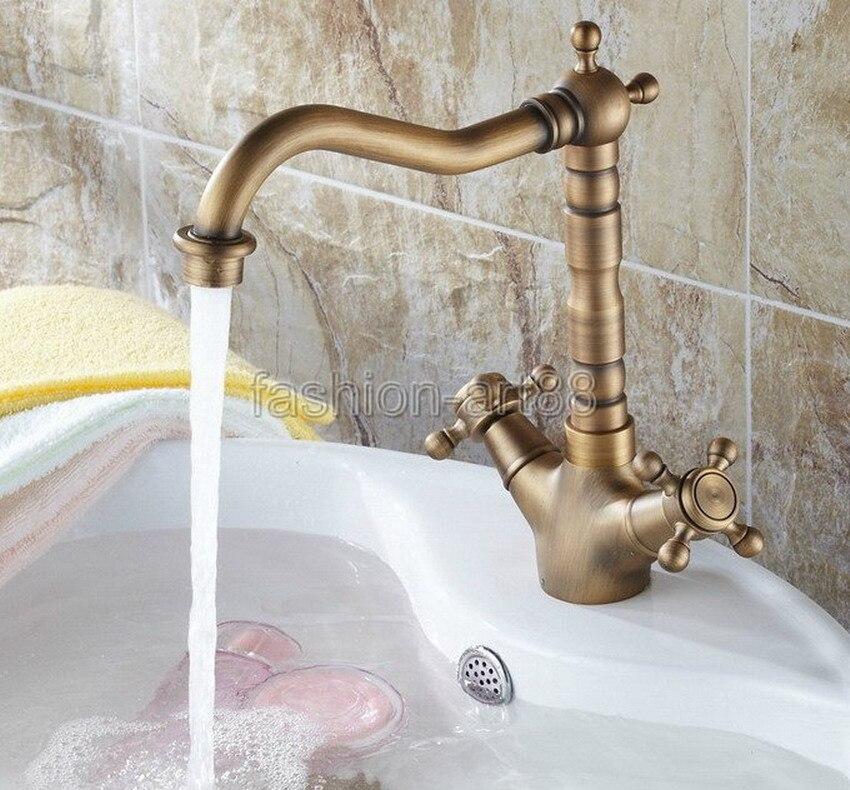 Antique Brass Dual Handles Swivel Bathroom Kitchen Sink Vessel Sink Faucet  Basin Mixer Tap Asf090(