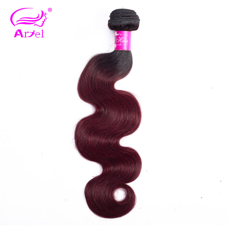 ARIEL Pre-Colored Brazilian Body Wave 1/4/3 Hair Bundles 1b/99j Human Hair Extensions Ombre 1B Burgundy Remy Hair Weave Bundles