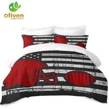 Купить с кэшбэком American Flag Bedding Set Rugby Cap American Football Duvet Cover Set Star Stripes Bedding King Queen Pillowcase Home Decor D45