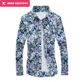 2016 Limited Dropshipping 6 Color Men's Big Flower Shirt Metrosexual Casual Long Sleeved Young Male Self-cultivation Shirt,tx45