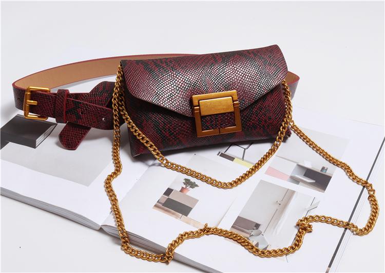 Snake Serpentine Waist Bag Women Chains PU Fanny Pack Bags