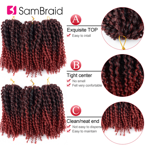 SAMBRAID kinky Twist Hair Crochet Braids 8 inches Curly Crochet Hair Ombre Braiding Hair Marlybob Synthetic Hair Extensions Islamabad