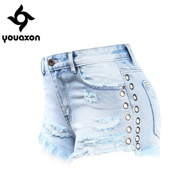 e54885d4 2119 Youaxon Celebrity ojales Denim Shorts para mujeres algodón Sexy Ripped  Short Jeans para mujer DIY