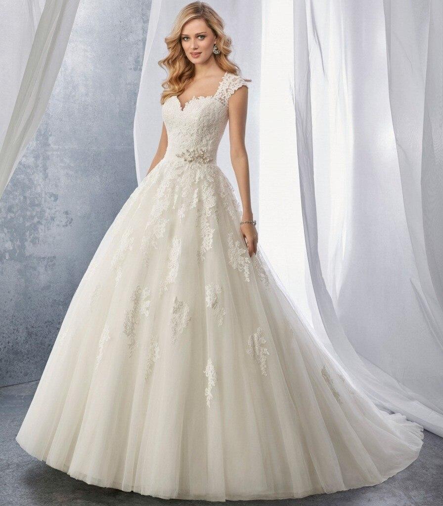 Vintage A Line Wedding Dresses: Robe De Mariage Pleated Tulle Waist Bruidsjurken Vestido