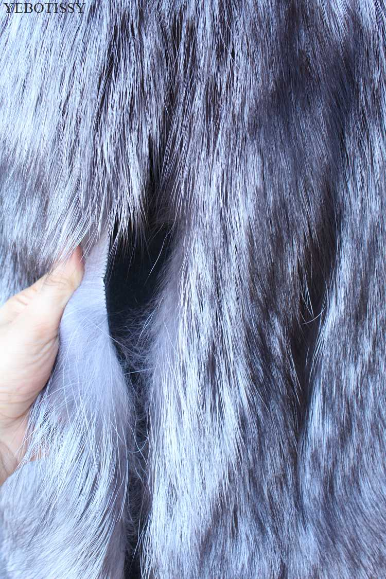 Femelle Sans 2018 Gilet Natural Réel Femme Veste Mode De Manteau Outwear Moyen Fourrure Vest Fur Fox Color Silver Véritable Chaud Long Nouveau Manches ZqxFrZT