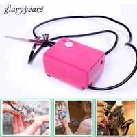 1 Set 0.4mm Nozzle Airbrush Gun with Mini Air Compressor Kit Portable Spray for Body Nail Face Makeup Paint Air Brush Tool Craft