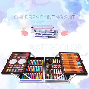 Image 2 - Portable Aluminum Alloy Suitcase Solid Watercolor Paint Oil Paints Water Color Pen Colored Pencil For Painting Gift Set Supplies