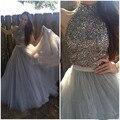 Vestido de festa a line alta neck frisada de cristal strass cinza Vestidos de Baile Longo Trem Da Varredura Mulheres 2 Peça de Formatura dress