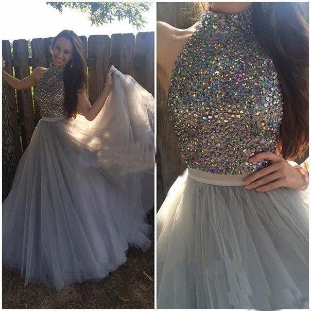 b9e7dbe1b3 Vestido de festa a line cuello alto con cuentas de cristal rhinestone gris  Vestidos De Baile