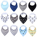 INS de moda de algodão Do Bebê babadores saliva toalha duas camadas crianças bandagem triangular estrela pena sólido padrão saliva toalha grossa