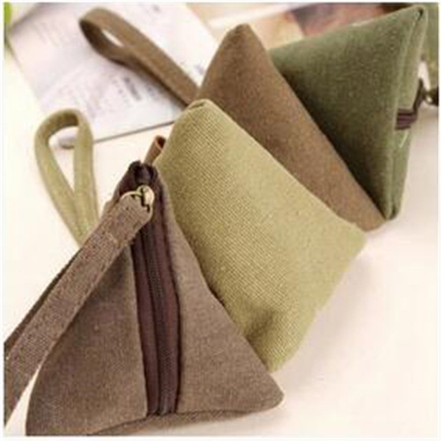 ISKYBOB Unisex Canvas Small Mini Triangle Wallet Coin Purses Clutch Money Bags with Strap Coin Purses & Holders