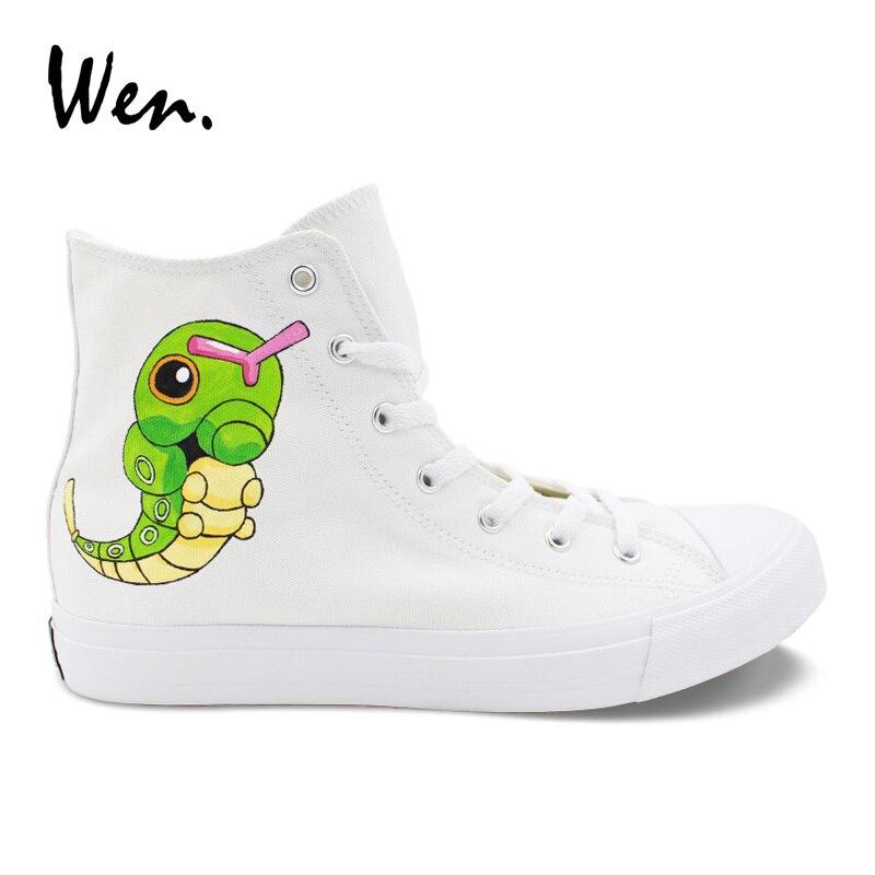 Diszipliniert Wen Design Hand Gemalt Schuhe Anime Pokemon Tasche Monster Caterpie High Top Weiß Leinwand Unisex Schuhe Erwachsene Turnschuhe Skateboard
