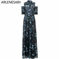Arlenesain custom 2018 New Blue Embroidered Flower Halter Print Layered Long Dress