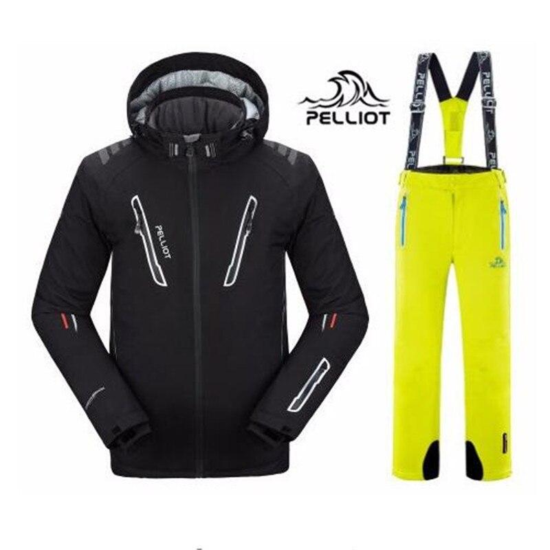 DHL Livraison Gratuite Authentique! 2018 Pelliot Ski Veste + Pantalon Hommes de imperméable à L'eau, Respirant Thermique Snowboard Out Manteau Hommes Ski Costumes
