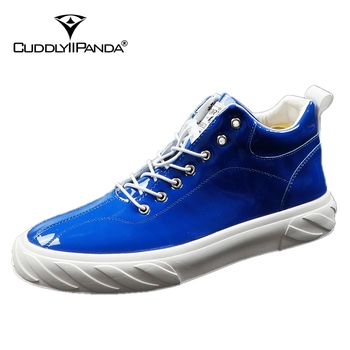 CuddlyIIPanda Luxury Men Fashion Causal Board Shoes Summer Leather Elastic Band Breathable Shoes Male High