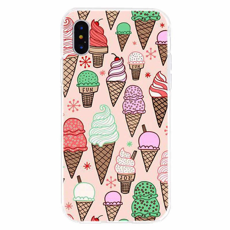 Для iPhone6 7 8 плюс X XR XS Max чехол пончик напитки торт узор ТПУ мягкий для цветные чехлы для телефонов I004