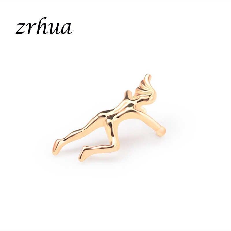 ZRHUA, joya con figura personalizada, pendientes de Metal de Color dorado/plateado, pendientes de Clip moderno para mujeres y niñas, regalos de cumpleaños