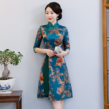 Big Size XXXL Vintage Print Flower Women Qipao Elegant Slim Chinese Style Aodai Dress Vestidos Novelty Silky Satin Cheongsam vintage style flower print swing dress