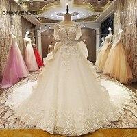 Factory direct LS67536 suknie ślubne frezowanie suknia balowa lace up powrót O neck krótkie rękawy robe mariage femme real zdjęcia