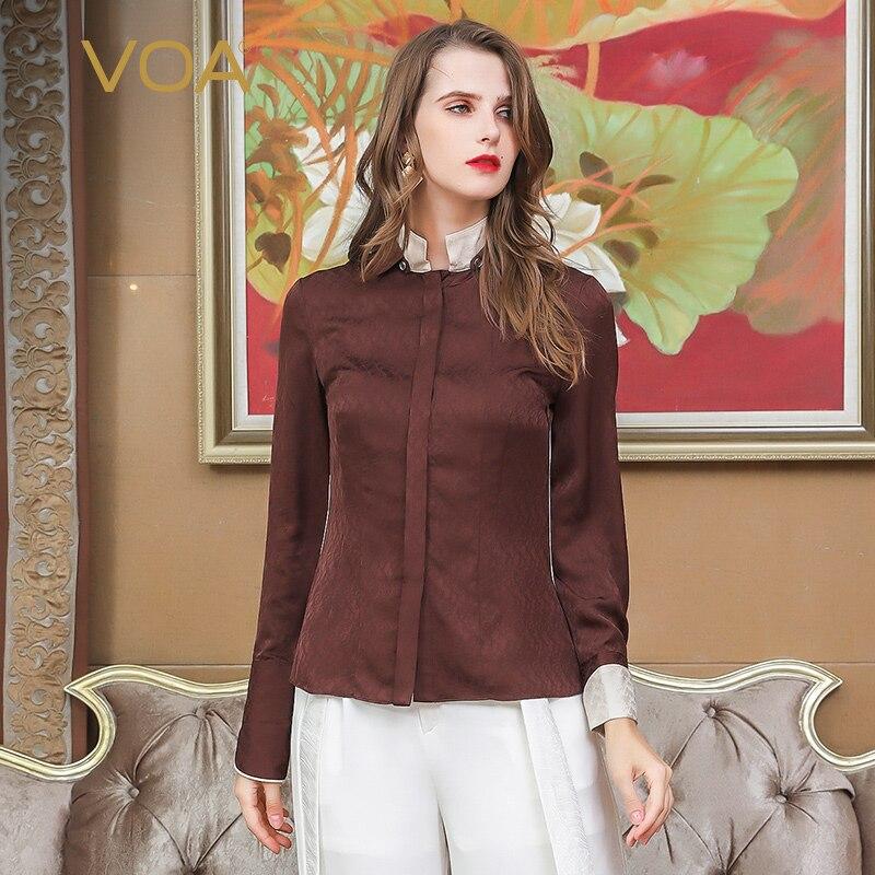 VOA brun Slim tunique soie Blouse grande taille vêtements femmes bureau dames vêtements de travail chemise automne à manches longues hauts de base sous B3101