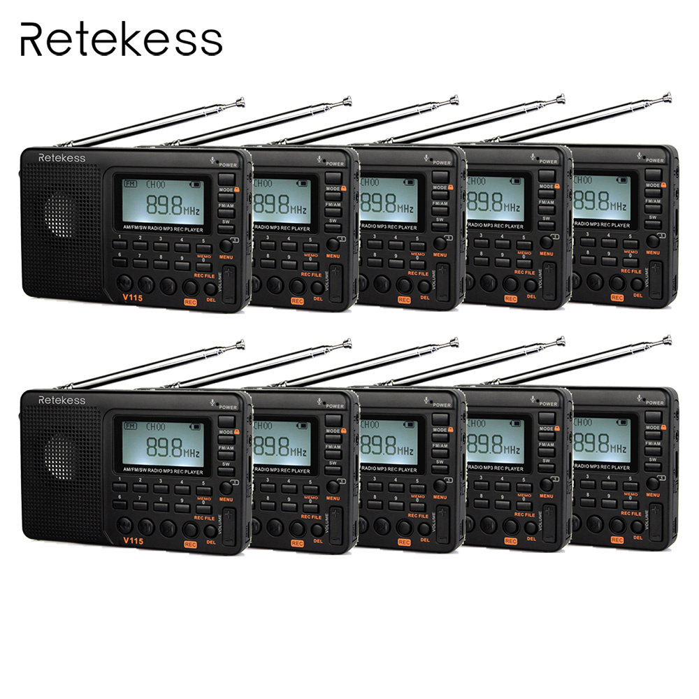 10pcs Retekess V115 FM/AM/SW Shortwave Radio Receiver with MP3 Player REC Voice Recorder Sleep Timer portable fm am sw radio multiband radio receiver bass sound mp3 player rec recorder portatil radio with sleep timer f9205a
