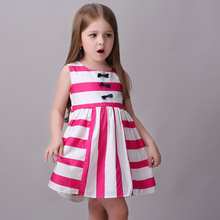 Toddler Dress Robe Princesse Fille 2017 Girls Summer Dresses Striped Print Costumes for Kids Clothes Children