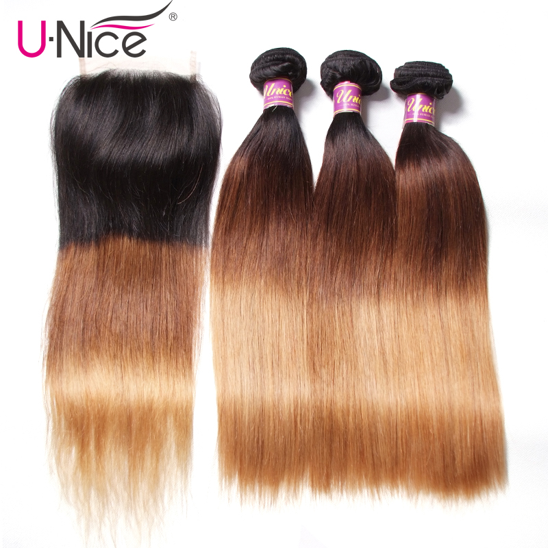 Unice Hair Human Hair 3 Bundles With Closure Free Part T1B 4 27 Ombre Bundles With