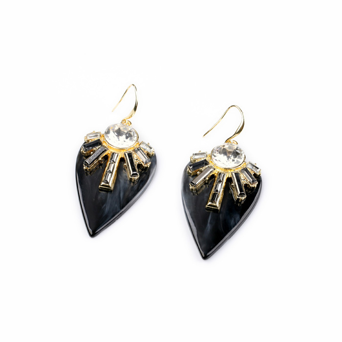 Black & Orange Color 2014 Fashion Leaf Earring Resin Glass Zinc Alloy Trendy Female Chic Gold Best Friend Earring