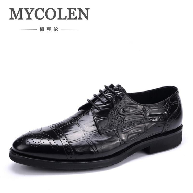 MYCOLEN Brand Fashion Leather Brogue Men Oxford Shoes For Men Business Comfortable Men D ...