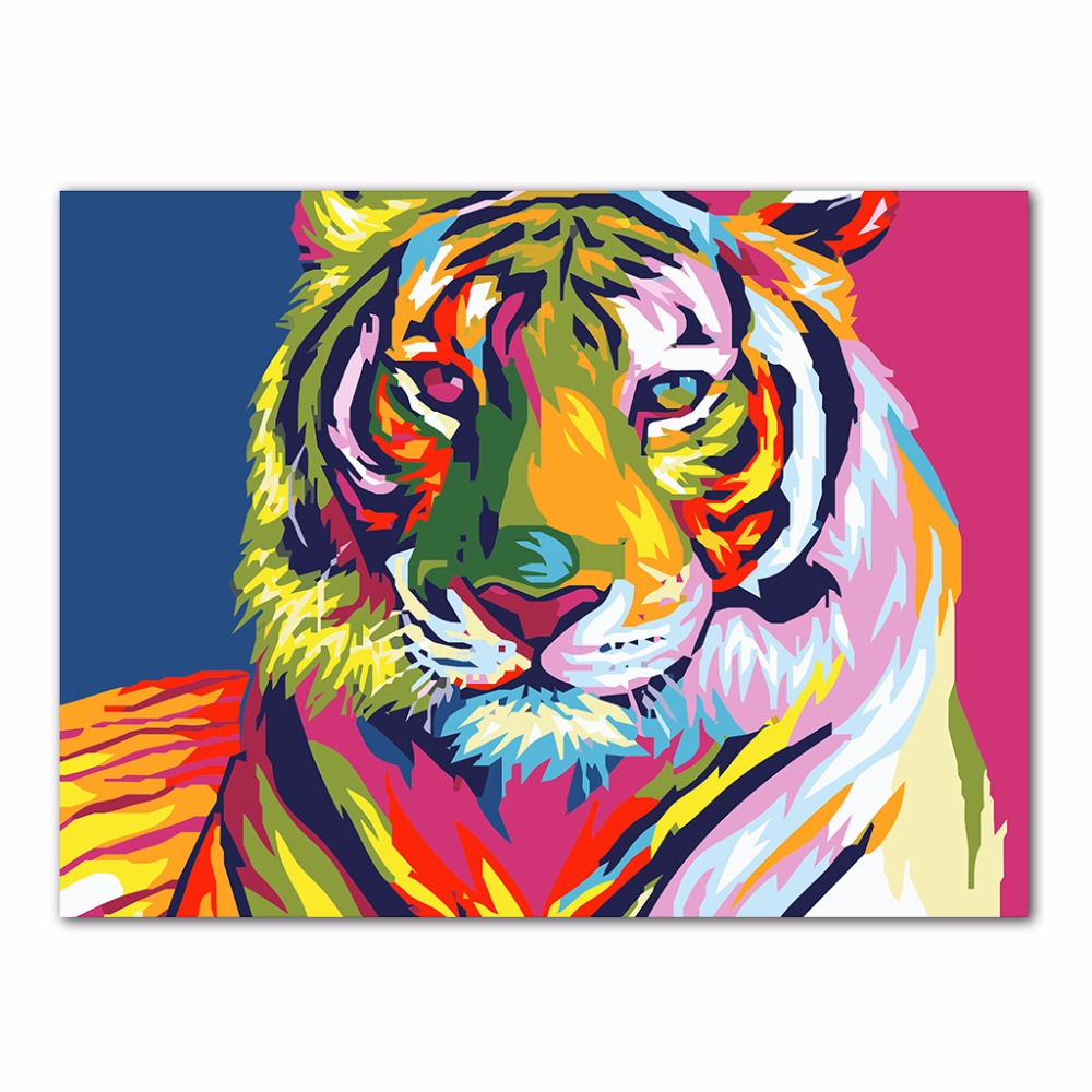Tiger Animal Colorful DIY Oil Painting By Numbers Acrylic