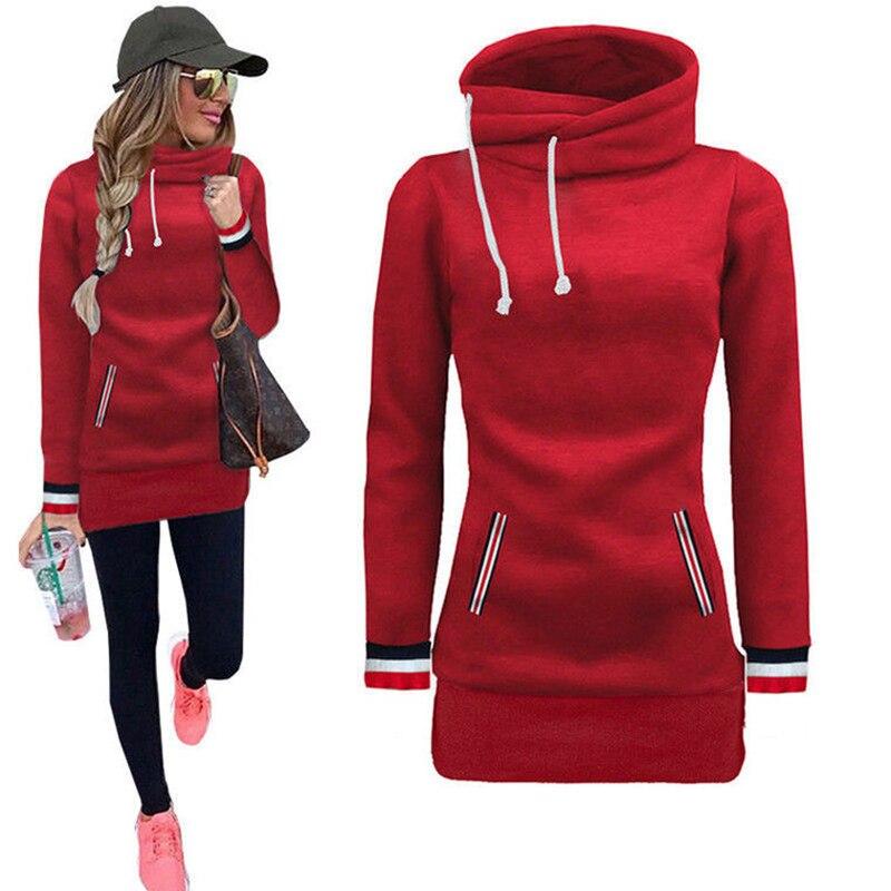 Turtleneck Pullovers Autumn Winter Women Hoodies Loose Casual Long Sweatshirt For Women Tracksuit Tops 2 Pocket Hoody Bigsweety