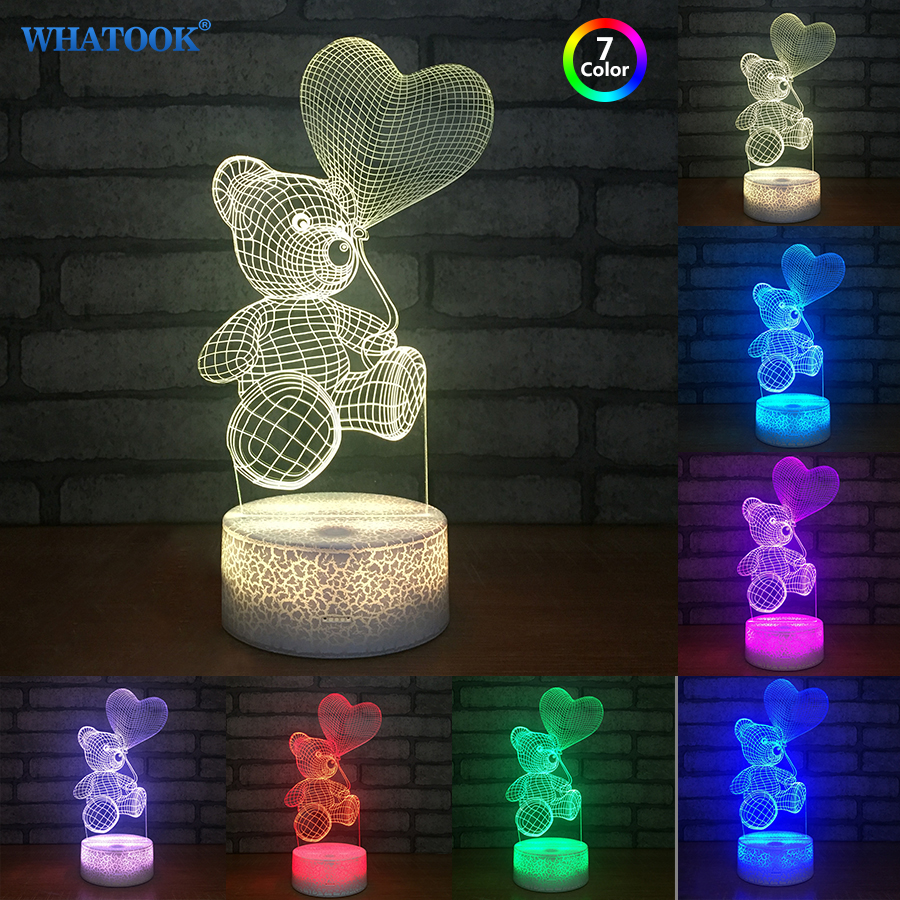 Cartoon Cute Heart Bear Shape 3D Lights Christmas Acrylic LED Lamp 7 Color Changing 3D Baby Sleeping Night Light Kids Gift Toys