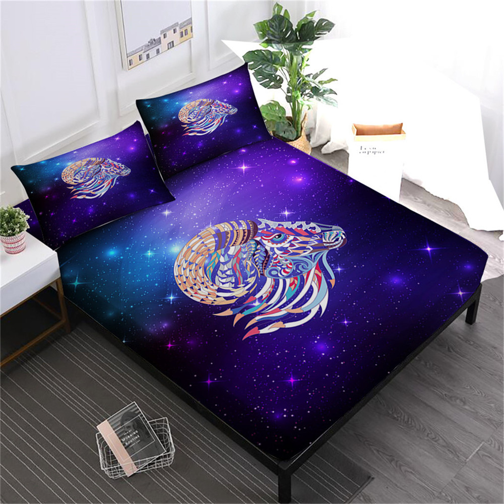 White Purple Galaxy Bed Sheet Colorful Animal Sheep Print Fitted Sheet Flat Sheet King Queen Bed Linens Pillowcase 4Pcs D30White Purple Galaxy Bed Sheet Colorful Animal Sheep Print Fitted Sheet Flat Sheet King Queen Bed Linens Pillowcase 4Pcs D30