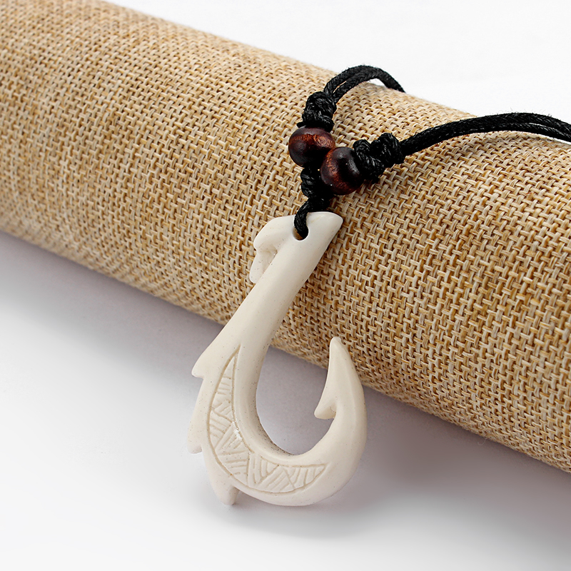 12Pcs Ethnic Tribal Imitation Yak Bone Resin Carving Maori Hook Pendant Necklace Black Wax Cotton Cord