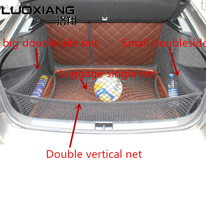 For Octavia A7 Refit special single trunk luggage net double side net double vertical  high elastic mesh storage for Octavia A7For Octavia A7 Refit special single trunk luggage net double side net double vertical  high elastic mesh storage for Octavia A7