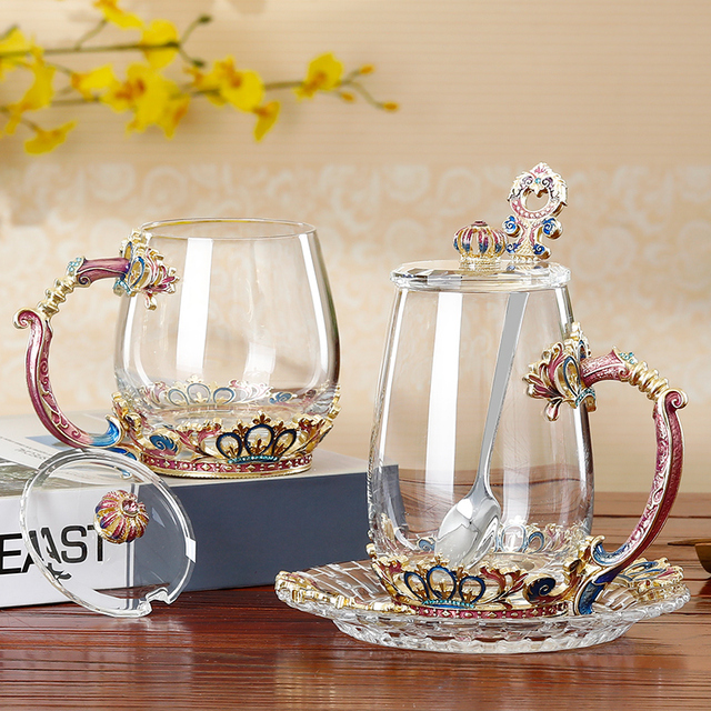 Colored enamel glass coffee mugs Europe style cups and mugs flower water glasses creative drinkware
