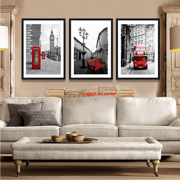 Arte moderno copias imágenes Estilo vintage impresiones fotográficas pintura sin marco Londres rojo autobús cabina de teléfono decoración del hogar