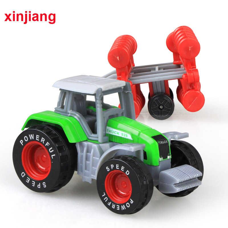 4 Buah Pertanian Kendaraan Mainan Teknik Truk Model Mobil Trailer Traktor Mainan Model Mobil Anak Mainan Koleksi Mobil anak-anak}