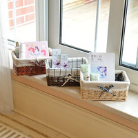 Desktop storage box rattan storage basket wicker underwear snacks debris basket cosmetics storage box