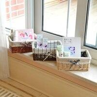 Desktop storage box rattan storage basket wicker underwear snacks debris basket cosmetics storage box