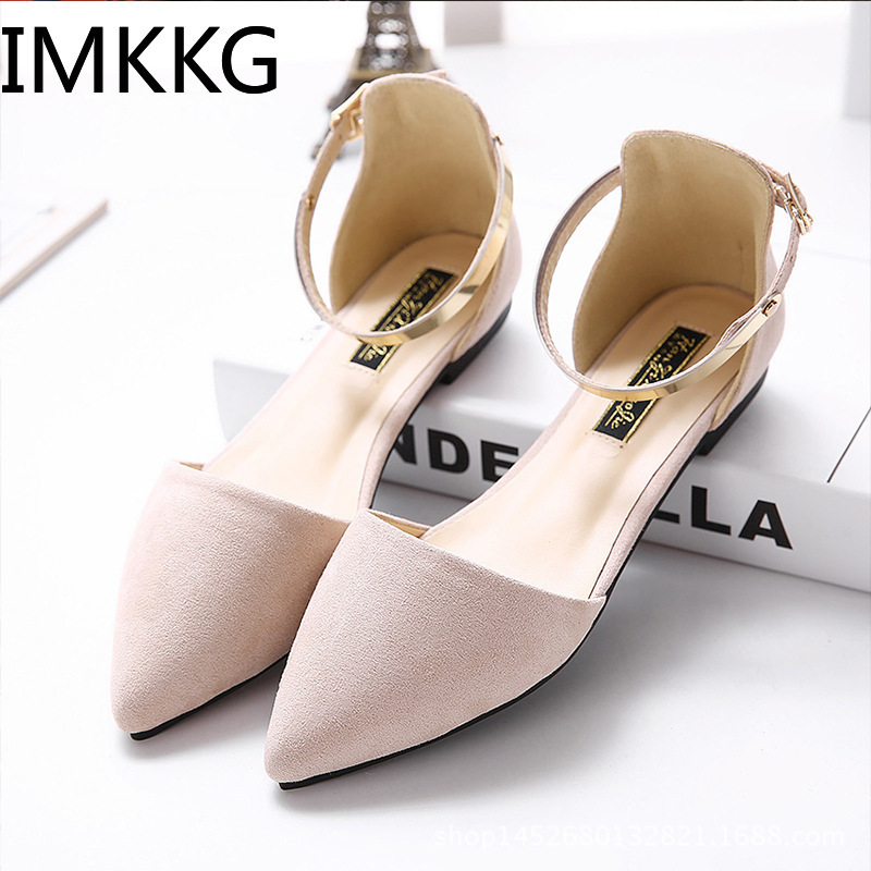 Female Shoes Sandals Ballerina-Flats Pointed-Toe Fashion Size 42 Suede Metal Summer A00281