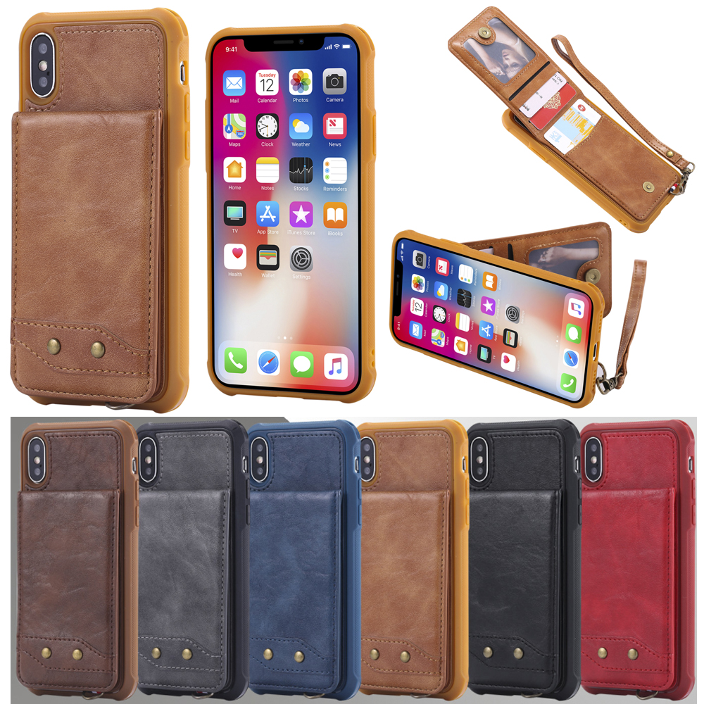 Leather Wallet Card Case For iphone 6 6S 7 8 plus 7plus 6Splus Flip Cover Case Carteira Stand Phone Casw For Samsung S8 S9 Plus