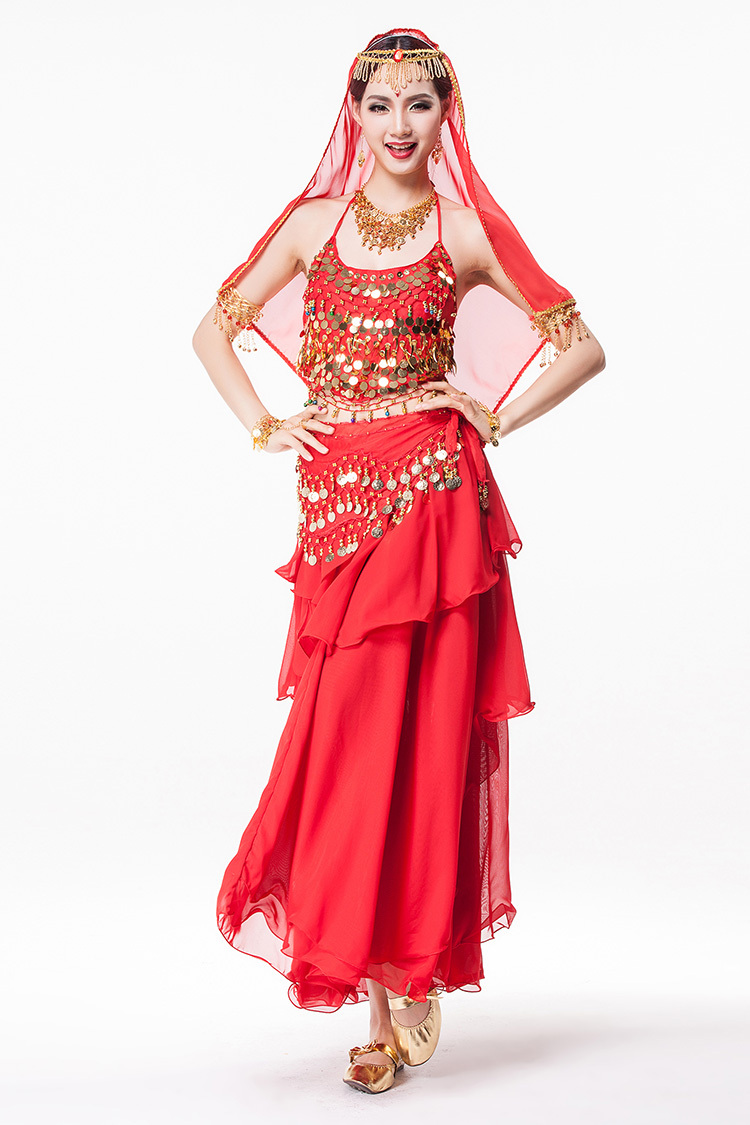 Aliexpress.com  Buy Women Bollywood Dance Wear 4 piece Costume Set  Rhinestone Headpiece, Halter Top, Coin Belt and Skirt Indian Belly Dance  Costumes from