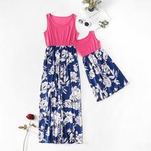 Женское платье в стиле пэчворк без рукавов с цветочным рисунком для мамы и меня одинаковые комплекты для семьи летнее платье для мамы и дочки